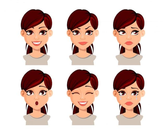 美しい女性の顔の表情 Premiumベクター