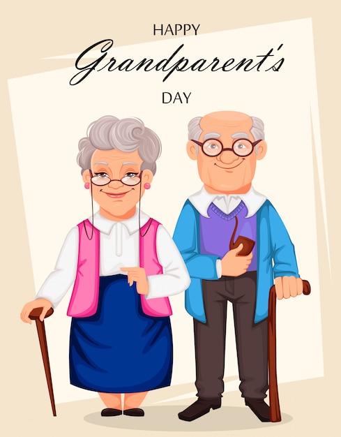 幸せな祖父母の日グリーティングカード Premiumベクター