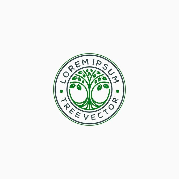 エンブレムツリーロゴテンプレートのベクトル図 Premiumベクター