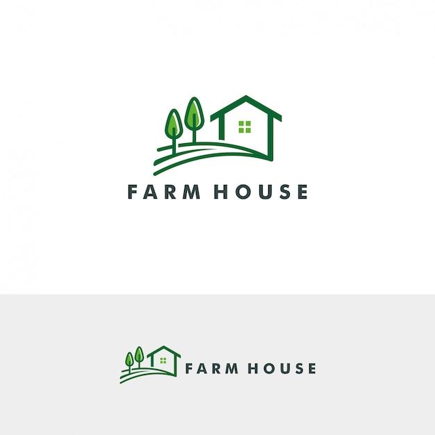 Ферма дом логотип шаблон векторные иллюстрации Premium векторы
