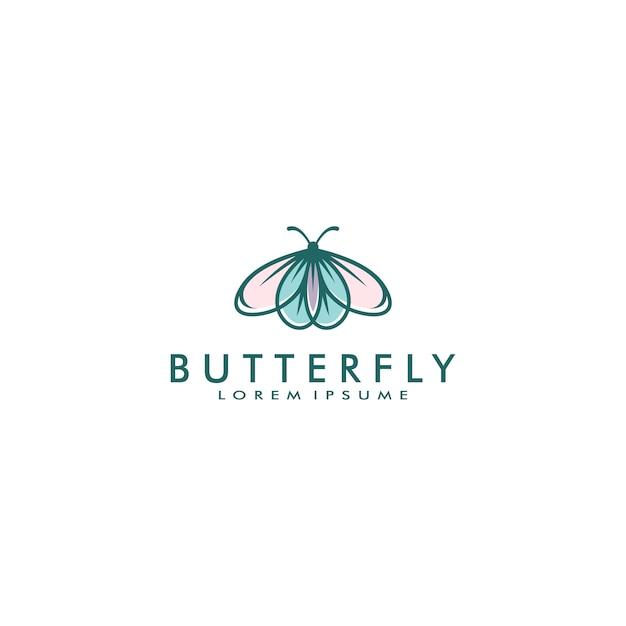 Бабочка логотип шаблон векторные иллюстрации Premium векторы