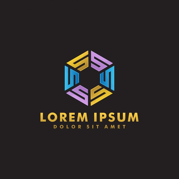 多角形のロゴのテンプレート Premiumベクター