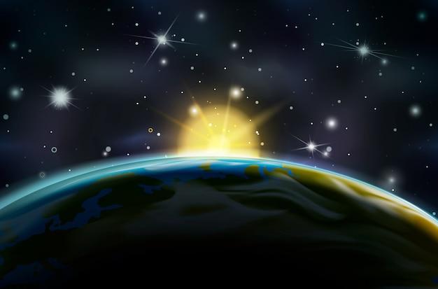 地球の軌道上の日の出を見る Premiumベクター