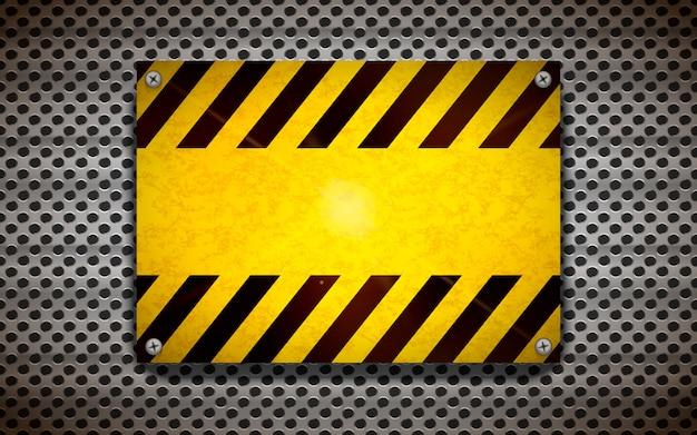 Желтый пустой шаблон предупреждающий знак на металлической сетке, промышленный фон Premium векторы