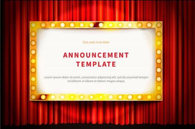 Золотая рамка с лампочками, шаблон в винтажном стиле на красной занавеске Premium векторы