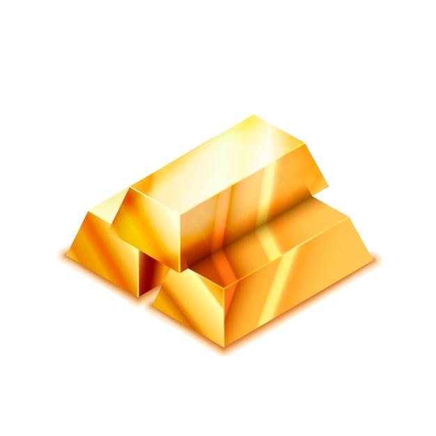 Яркий стек из трех реалистичных глянцевых золотых слитков в изометрической проекции на белом Premium векторы