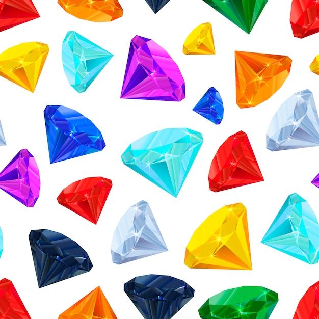 白いシームレスパターンの宝石 Premiumベクター