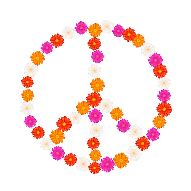 Пацифистский знак из цветов герберы Premium векторы