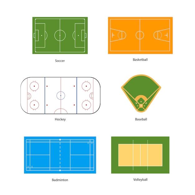 スポーツ、サッカー、バスケットボール、バレーボール、野球、ホッケー、バドミントンのマーキング Premiumベクター