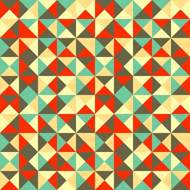 レトロな色の三角形、抽象的なシームレスパターン Premiumベクター