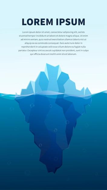 Большой айсберг в море, концепция иллюстрации, баннер с текстовым шаблоном Premium векторы