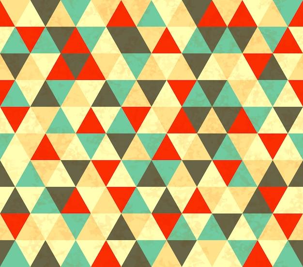 カラフルな三角形のレトロなシームレスパターン Premiumベクター