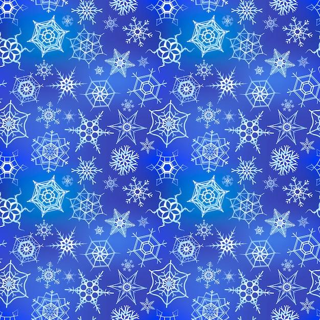 青い冬の背景、シームレスなパターンに白い冷凍雪 Premiumベクター