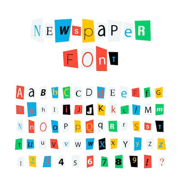 カラフルな新聞文字フォント、ラテン系のアルファベット記号と白の数字 Premiumベクター