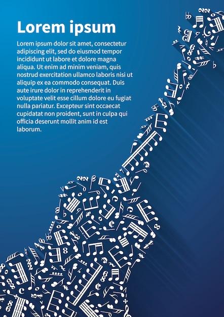 音符と青い背景上の標識から構成されるギターシルエット Premiumベクター