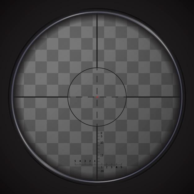 Реалистичный снайперский прицел на прозрачном фоне Premium векторы