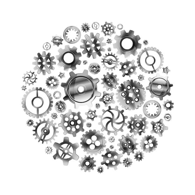 白で隔離される円形に配置された光沢のある金属歯車 Premiumベクター