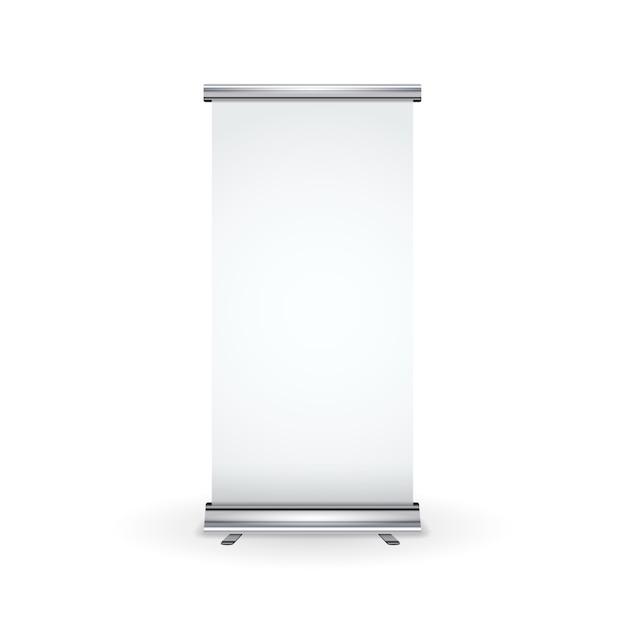 Пустой реалистичный баннер свертки на белом Premium векторы