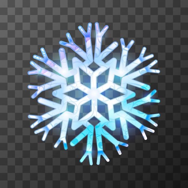 明るい光と反射とカラフルな氷のようなスノーフレーク Premiumベクター