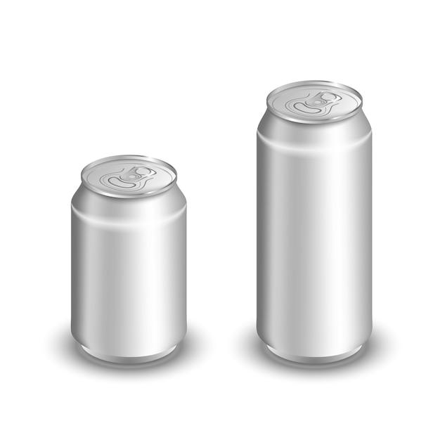 Две пустые алюминиевые банки, изолированные на белом Premium векторы
