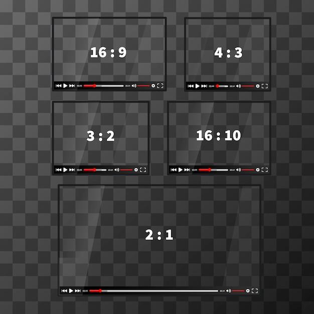 Набор современных веб-плееров для видео разных пропорций на прозрачном фоне Premium векторы