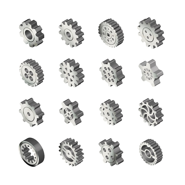 Набор реалистичных глянцевых металлических зубчатых колес в изометрической проекции на белом Premium векторы