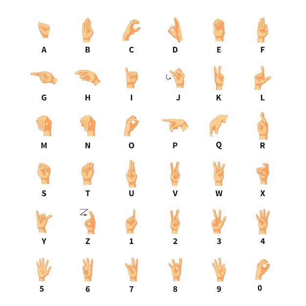 手話通訳、白のラテン系のアルファベット記号 Premiumベクター