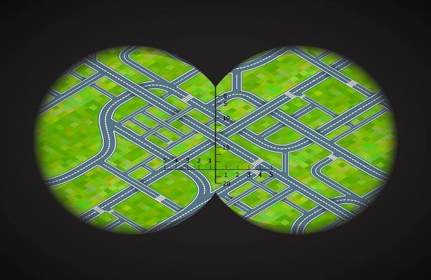 Вид из бинокля на сложные дорожные развязки в изометрии Premium векторы