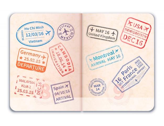 現実的なオープン外国パスポート Premiumベクター