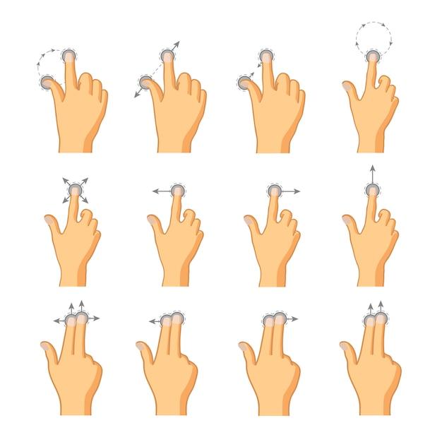 Плоские иконки сенсорных жестов Premium векторы