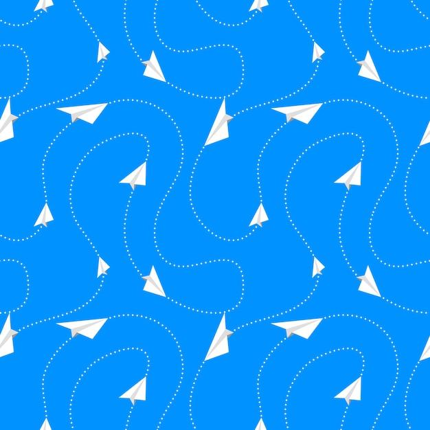 Бумажные самолеты летают по маршрутам, бесшовные модели Premium векторы