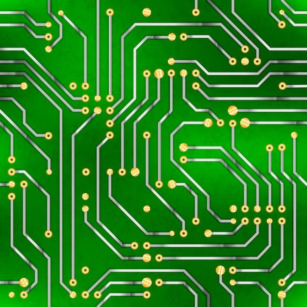 複雑なコンピューターのマイクロチップ、グリーンのシームレスパターン Premiumベクター