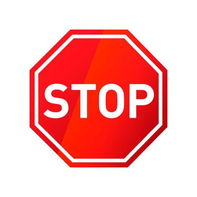 Остановить красный глянцевый дорожный знак на белом Premium векторы