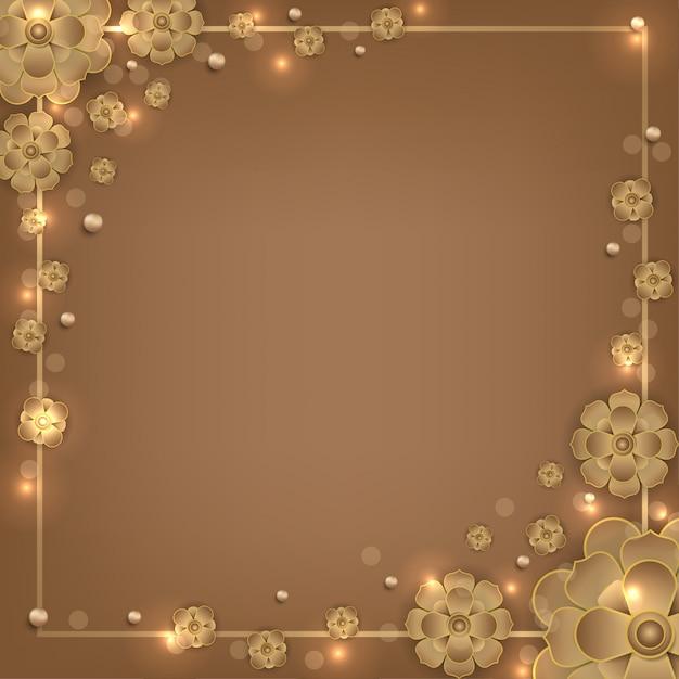 イスラムのマンダラ花金正方形の背景 Premiumベクター
