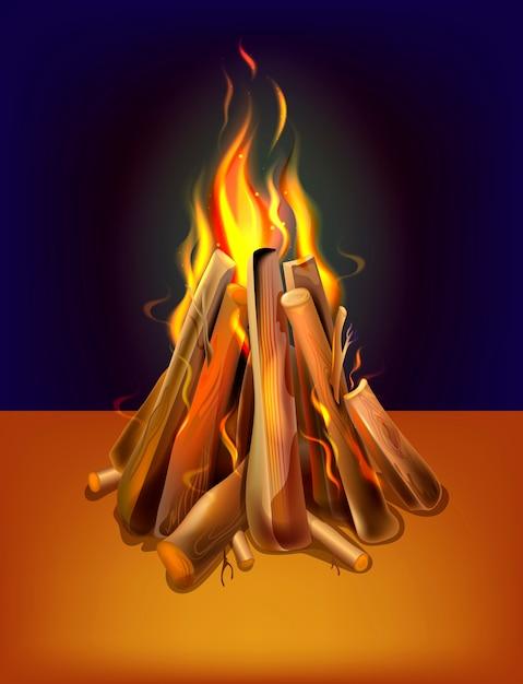 木とリアルな燃える焚き火 Premiumベクター