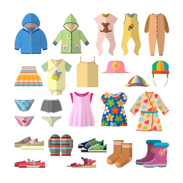 フラットスタイルのベビー服のベクトルを設定します。子供服コレクションデザイン。 Premiumベクター