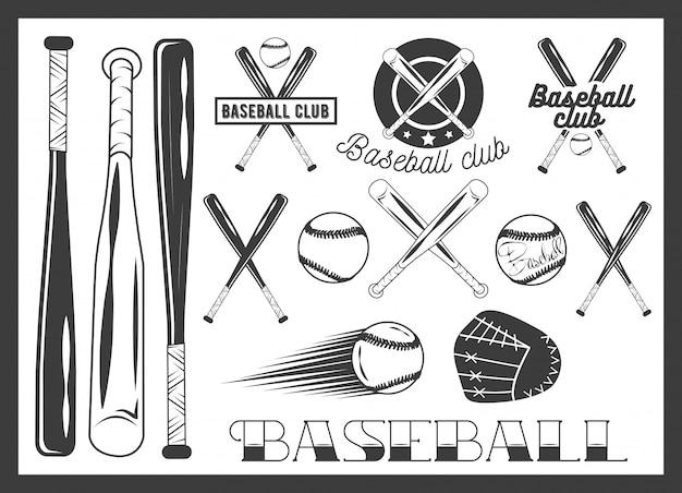 Векторный набор эмблемы бейсбольного клуба, с Premium векторы