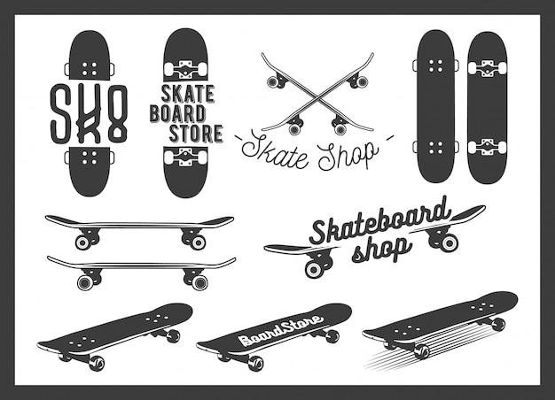 スケートボードのエンブレムデザインのベクトルを設定 Premiumベクター