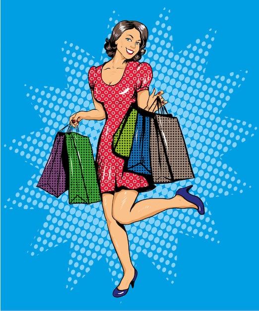 ショッピングバッグで幸せな女 Premiumベクター