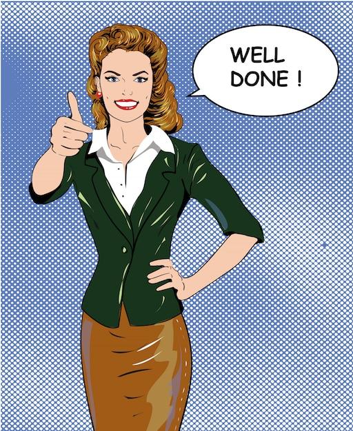 ポップアートレトロなスタイルの女性はよくやった吹き出しと手話を親指を示します。 Premiumベクター