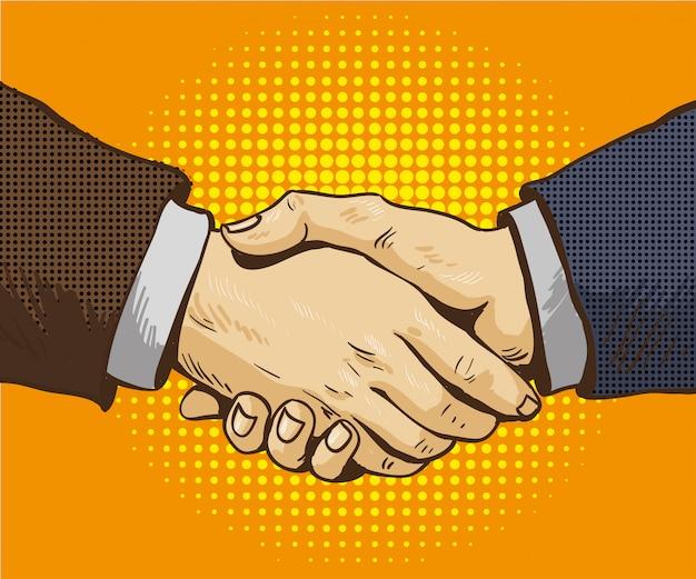 ビジネスマンは、レトロなポップなアートスタイルで手を振るベクトルイラストです。コミックデザインのパートナーシップハンドシェイク Premiumベクター