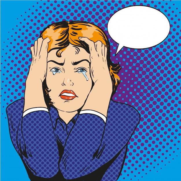 ストレスと泣いている女性。コミックレトロなポップなアートスタイルのイラスト Premiumベクター