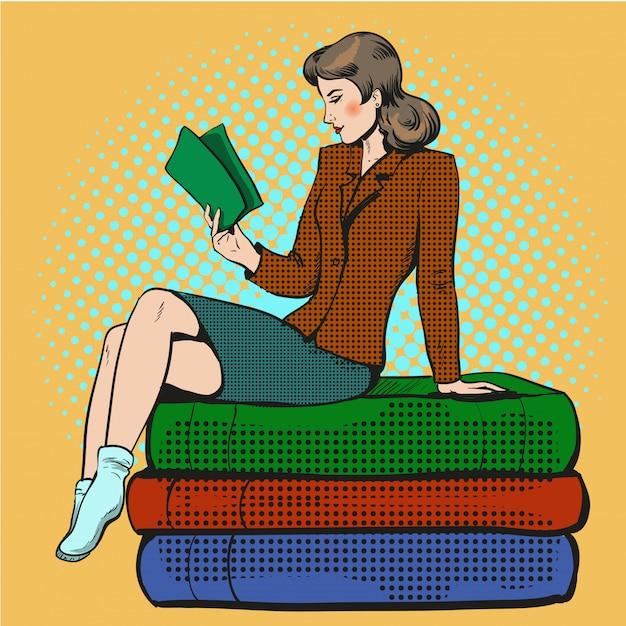 Поп-арт иллюстрация молодая женщина читает книгу Premium векторы