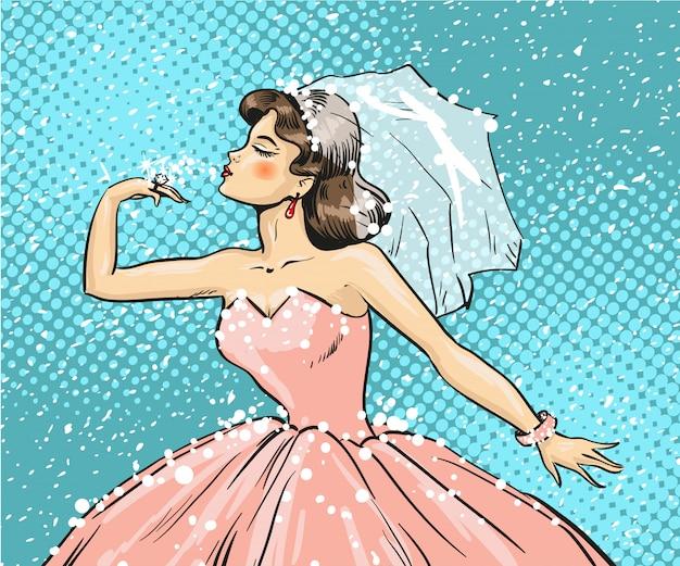 結婚指輪を見て花嫁のポップアートイラスト Premiumベクター