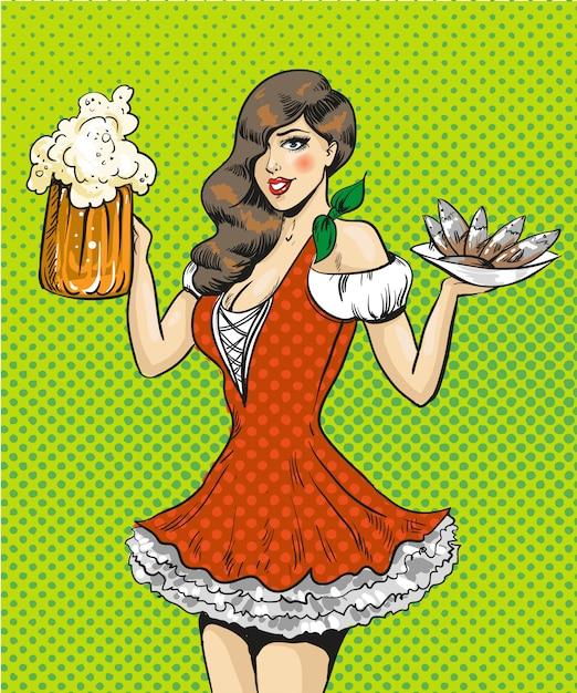 Поп-арт иллюстрация девушки с пивом и рыбой Premium векторы