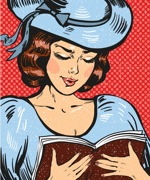 本を読んで若い女性のポップアートイラスト Premiumベクター