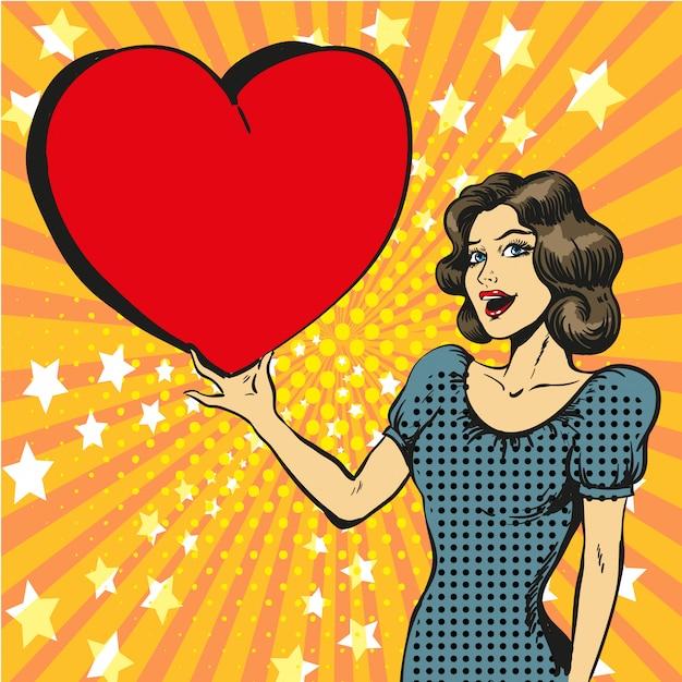 愛の幸せな女のポップアートイラスト Premiumベクター