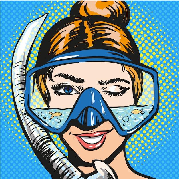 スキューバダイビング用品の女性のポップアートイラスト Premiumベクター