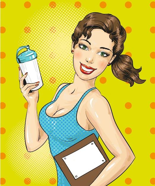 スポーツボトルとフィットネス女の子のポップアートイラスト Premiumベクター