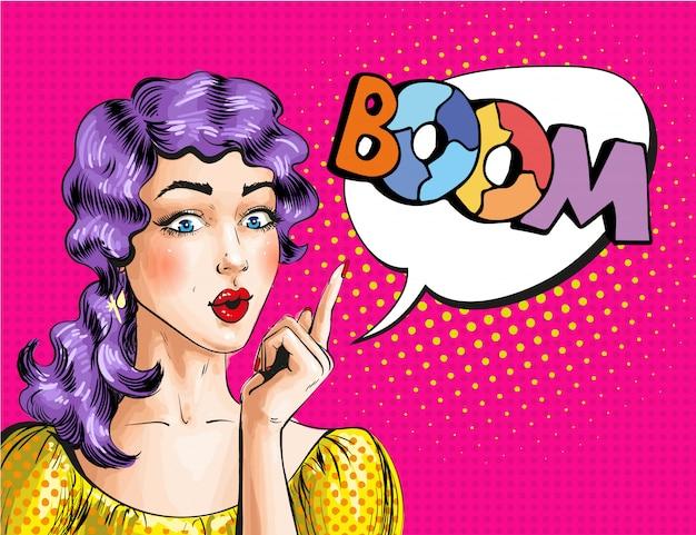 Иллюстрация поп-арт женщины, показывая слово бум Premium векторы